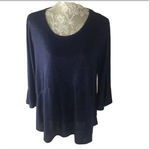 NWT Cato Navy Blue Sparkle Top Large